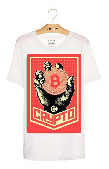 Camiseta Bitcoin Camisa Trader Bitcoin Handblock + Brinde