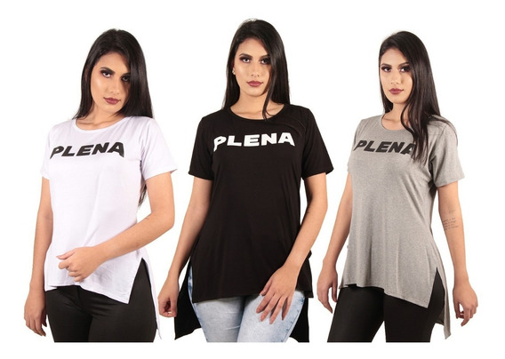 Combo De 3 Blusas Camisa Feminina Alongada Longline