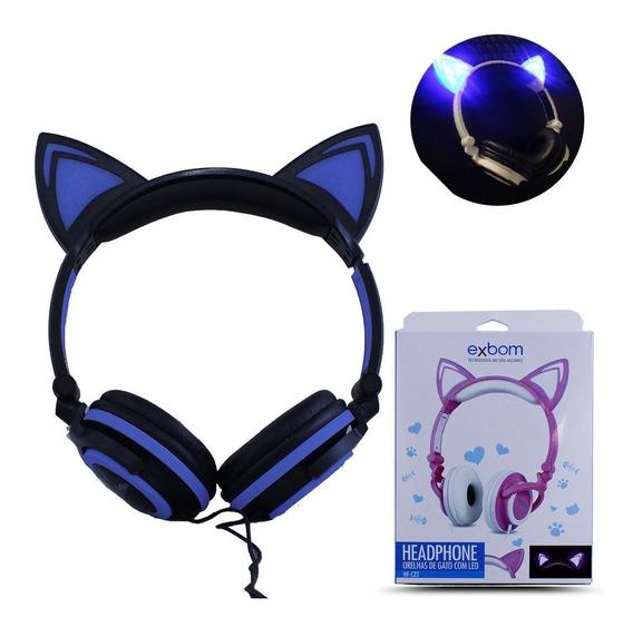 Headphone Orelha Gato Fone Ouvido Luz Led Azul E Preto
