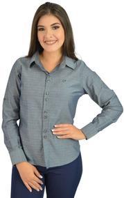 Camisa Social Feminina Cinza - Não Perca
