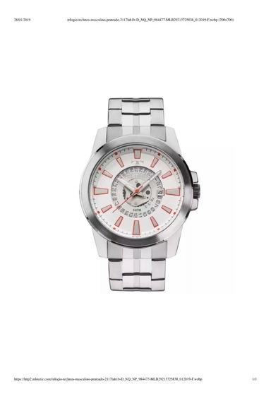 Relógio Technos Masculino Prateado 2117lah/1b. Promo! Origi!
