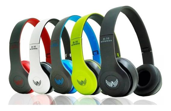 Fone Ouvido Sem Fio Bluetooth Sd Fm Mp3 Usb Aux B16-promoção