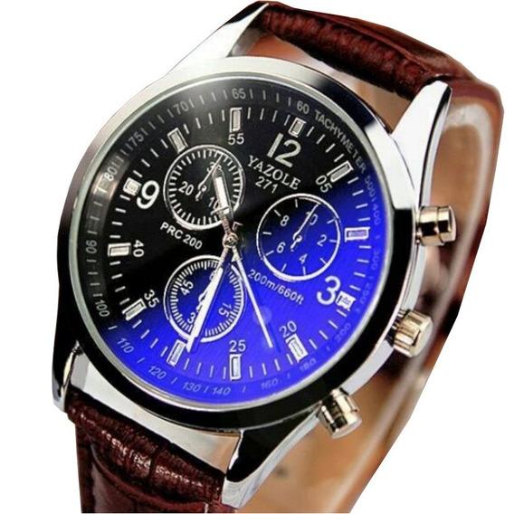 Relógio Masculino Yazole 271 Marrom Quartzo