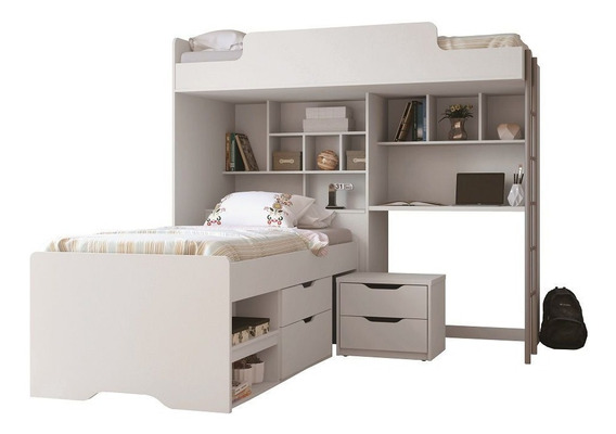 Beliche C/escrivaninha Office New+cama Juvenil Santos Andirá E Criado Branco
