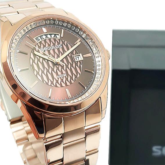Relógio Feminino Rosê Seculus Garantia E Nf