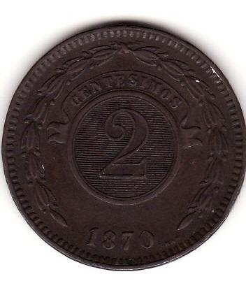 Paraguay,moneda De 2 Centesimos 1870