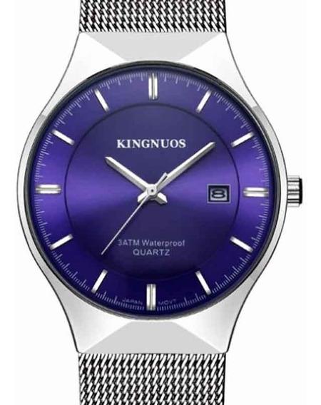 Relógio Kingnuos Azul Ultrafino De Luxo Pronta Entrega