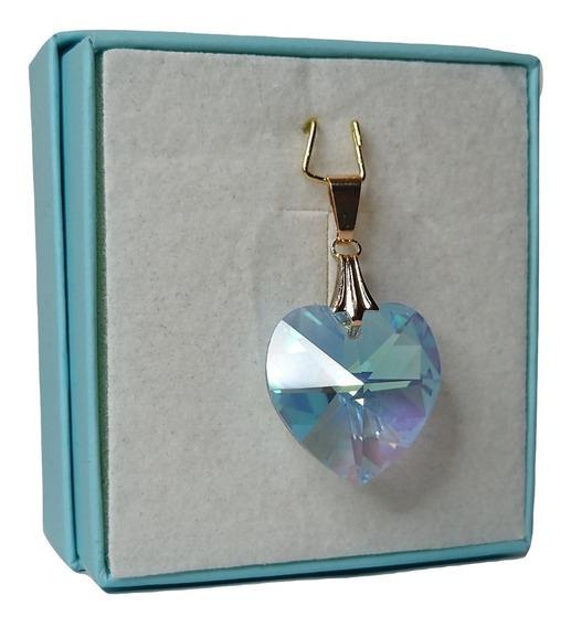 Pingente Cristal Swarovski Aquamarine Ab 1,8 Cm Folh. Ouro