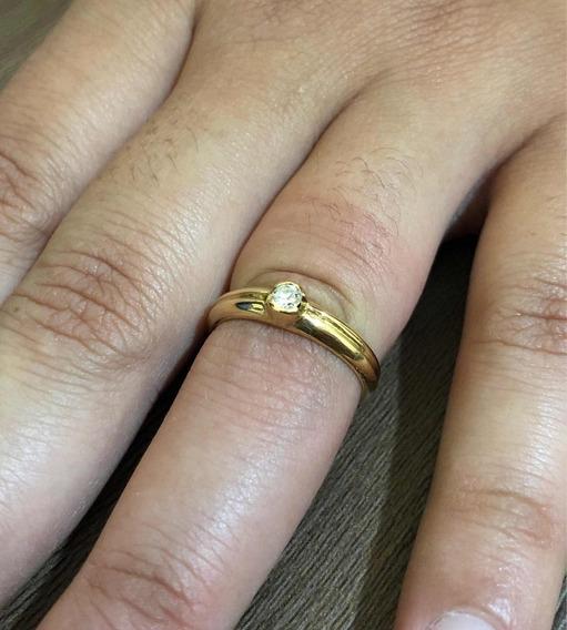 Anel Feminino Ouro 18k 750 Solitário Com Diamante De 9 Pt