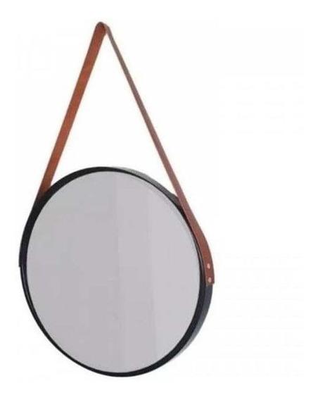 Espelho Redondo Com Alça Suspenso Decorativo Preto 45cm