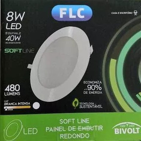 Kit 10 Paineis Led 8w Branco Intenso Redondo Embutir Bivolt