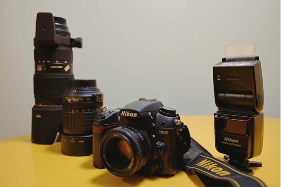 Nikon D7000 + Lente 18-105mm + 50mm + 70-200 + Flash Sb600