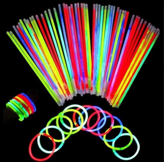Paquete De 100 Pulseras Luminosas Neon Ideal Para Eventos