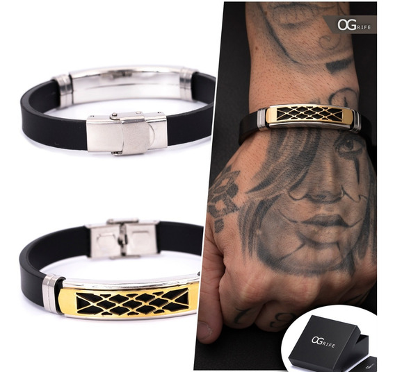 Pulseira Bracelete Masculino Ogrife J-459 Silicone Aço Inox