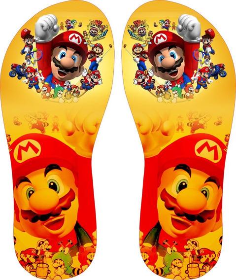 Chinelo Personalizado Mario Bros Infantil Com Nome