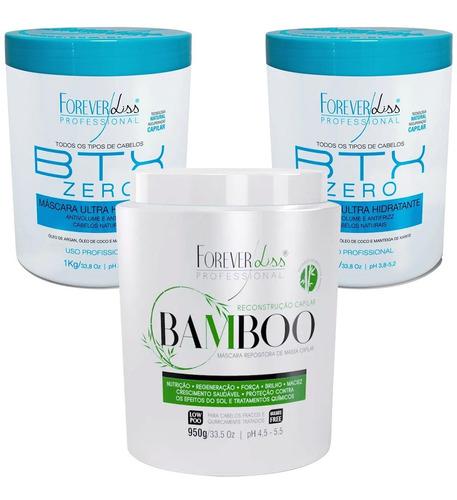 Kit Profissional Forever Liss Mascara Bamboo E 2 Btox Zero
