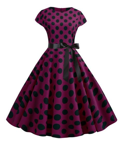 Vestido Vintage Punto Impresión Verano Una Línea