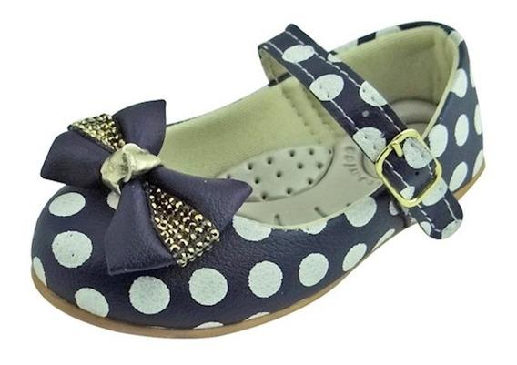 Sapato Boneca Baby Com Laço, Strass E Bolinha - Azul