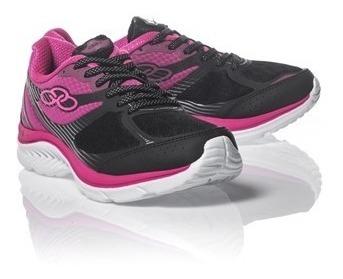 Tenis Olympikus Like Preto/pink Tecido Conforto Caminhada