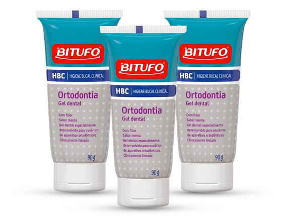 Kit Gel Dental Bitufo Hbc Ortodontia Sabor Menta 90g 3 Unida