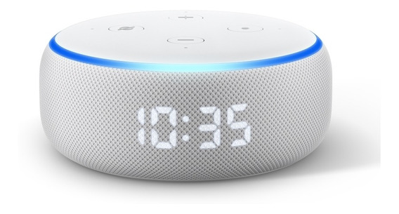 Smart Speaker Amazon Alexa Relógio Echo Dot 3 Branco