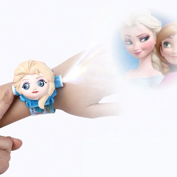Relógio Princesa Frozen Projetor Luz Com 24 Imagens Infantil