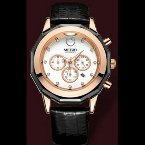 Relógio Feminino Megir 2042 Luxo Original Nobreza Luminoso