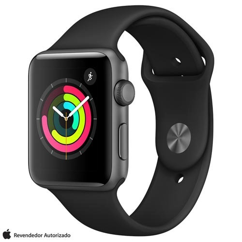 Apple Watch 3 Sport Pulseira Esportiva Preta 42 Mm 8 Gb