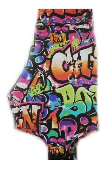 Calza Mujer Con Recortes Diseño Grafitti De Lycra Elastizada