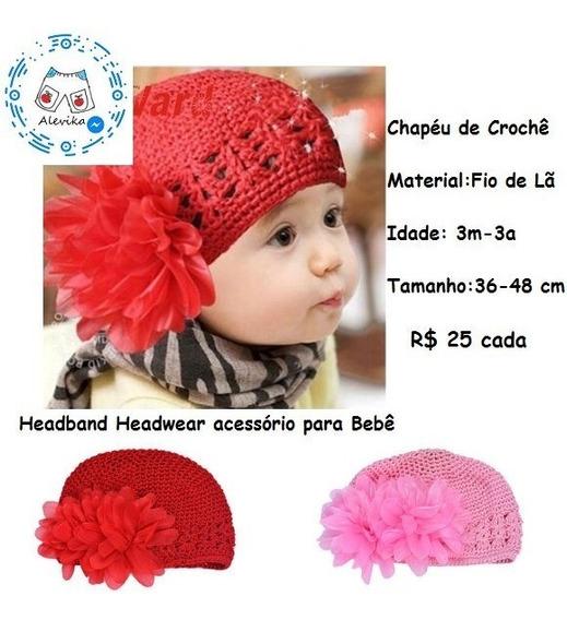 Boné Flor 3d Chapeu Bebê Boina Touca Laço Croche Toddlers