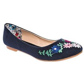 Zapato Casual De Dama Azul Marino Con Bordado De Flores