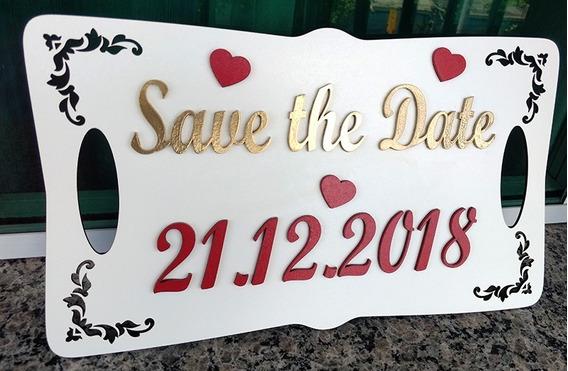 Placa Para Ensaio Fotografico Casamento Casal - Save The Dat