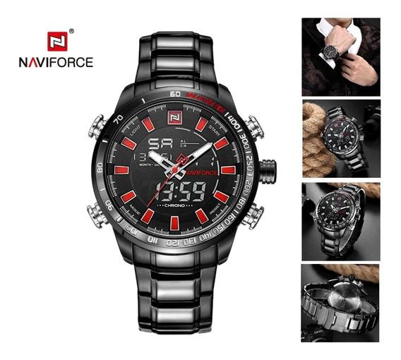 Relógio Naviforce 9093 Masculino Estilo Militar Preto