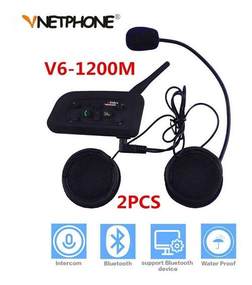 Intercom Bluetooth Moto V6 1200 Capacete 2 Pçs - Promoção