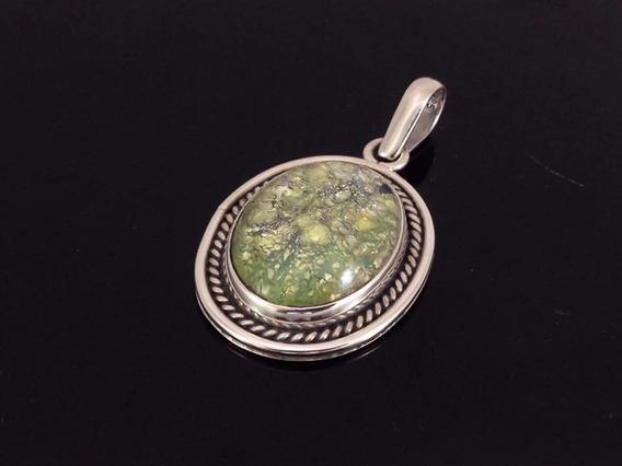 D22 Dije De Plata Ley 925 Con Piedra Natural Ambar