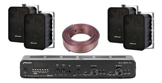 Kit Receiver Slim 2500 App Frahm + 4 Caixas Ob115 + Rolo Fio