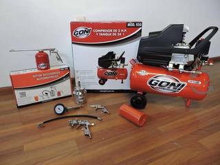 Compresor Lubricado 2 Hp. Tanque 24l. + Kit