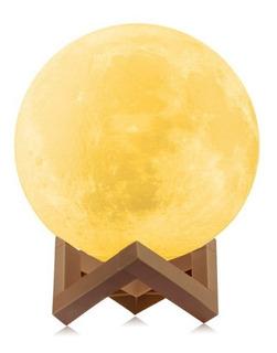 Lampara Velador Led Luna Llena + Base Decoracion Luz Noche