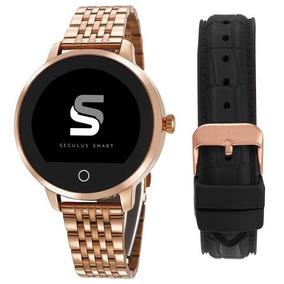 Relógio Seculus Smartwatch Pulseira Rosê/preto 79003lpsvra1