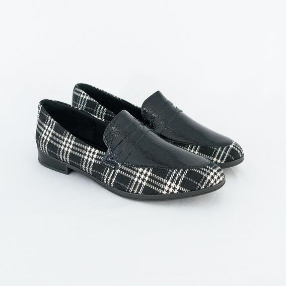 Sapato Usaflex Ab8304 Mídia 2019 Xadrez Scotch Preto