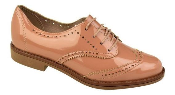 Sapato Oxford Brogue Beira Rio Verniz Feminino