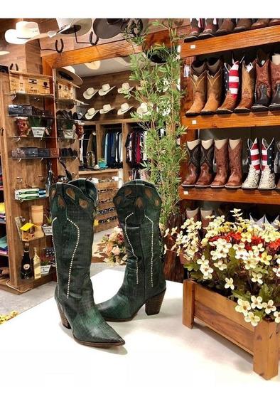 Bota Country Bico Fino Feminina Verde Tucson