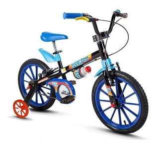 Bicicleta Infantil Criança Azul Rosa Aro 16 Menino E Menina