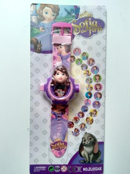 Relógio Infantil Princesa Modelo Novo Projeta 24 Imag+brinde