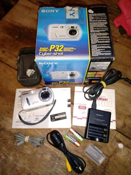 Câmera Completa Sony Dsc-p32 - Funcionando Perfeitamente