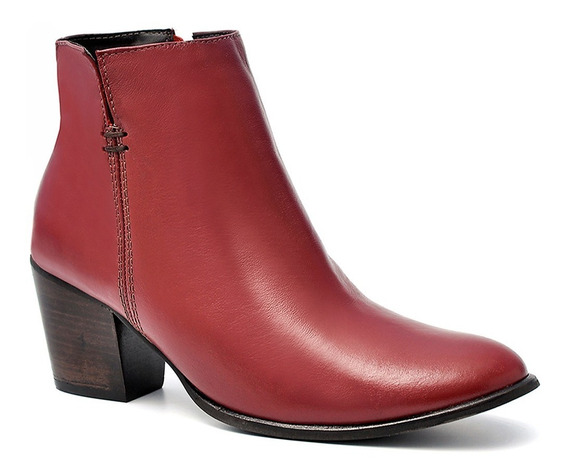 Sapato Bota Social Feminina Salazari Couro Autêntico Morango