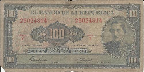 Colombia 100 Pesos Oro 1 De Enero 1964