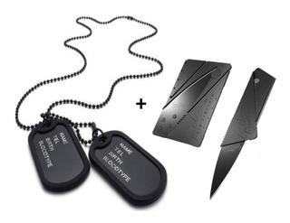 Dog Tag Militar 2 Placas Exercito Original + Cartão Canivete