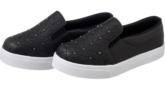 Tênis Slip On Preto Costurado