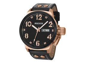 Relógio Magnum Masculino Rose Gold Couro Ma32783p